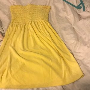 Yellow Strapless Terry Cloth Cover-Up Dress